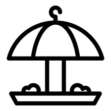 Umbrella Bird Feeder Icon. Outline Umbrella Bird Feeder Vector Icon For Web Design Isolated On White Background