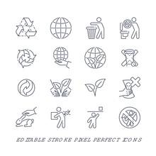 Set Of 16 Editable Stroke Pixe...