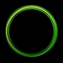 Green Abstract Neon Round Shape On Black Background. Glowing Futuristic Bright Green Frame. Simple Electric Light Symbol For Advertisement Design Project. Vector Illustration. Light Symbol Energy.