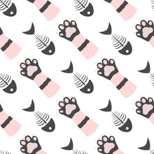 Cat Paws And Fish Skeleton Pattern