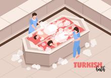 Turkish Bath Isometric Illustr...