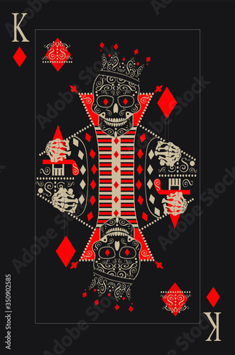Fototapeta King skull card cubes. Pope with hat and symbols vector, black and white. obraz