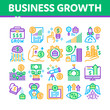 Business Growth And Management Icons Set Vector. Business Case With Dollar Sign, Rocket And Wings, Brain And Muscle Concept, Grow Arrow Statistic Color Illustrations