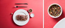 Collage Of Tasty Grilled Steak...