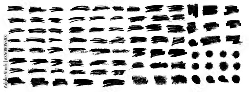 Big set of different brush strokes. Brush stroke, ink splashes stencil. Vector black paint, line or texture. Messy art design element, frame or background for text.Vector illustration brush stroke set