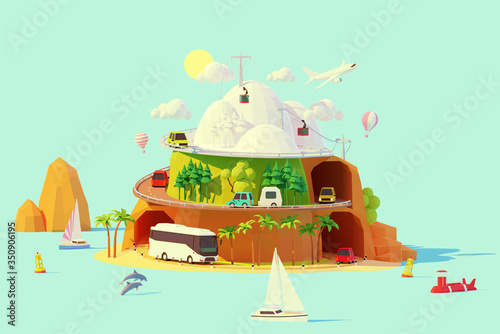 Obraz Vector tourism and travel illustration. Summer and winter travel by coach bus, car, camper, sailboat and plane. Road around island from winter and snowy mountains to summer beach with palm trees - fototapety do salonu