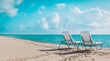 Two beach chairs on tropical vacation, relax at sea