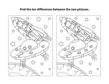 Space Exploration Themed Find The Ten Differences Picture Puzzle And Coloring Page With UFO And Spaceship Near The Earth.