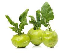 Fresh Kohlrabi With Green Leav...