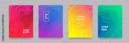 Fototapeta Backgrounds, abstract gradient color pattern, vector design. 3D wave shape, geometric liquid fluid flow graphic, paper cut art posters and color gradient abstract backgrounds set obraz