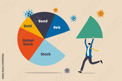 Photo Asset Allocation investment or risk management in COVID-19 Coronavirus crash causing economic recession concept, businessman investor or wealth manager holding big piece of asset allocation pie chart