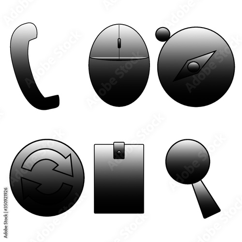 black computer mouse icon - 350921926