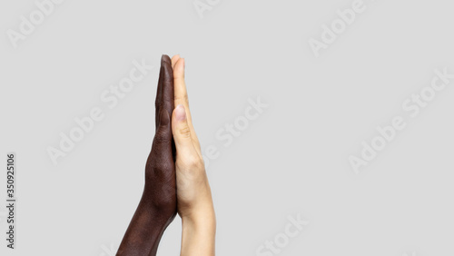 Fotomural Black-and-white human hands touch palms to show each other friendship and respect