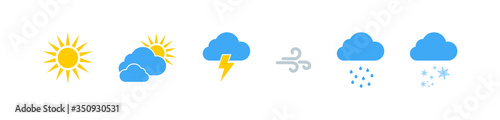 Fototapeta Weather vector icons collection. Weathers icons. Weather forecast sign symbols. Weathers signs in flat design. Eps10 obraz