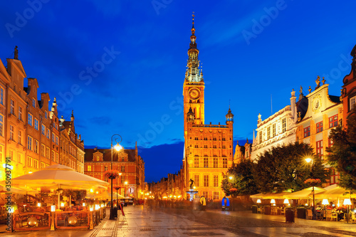 Fototapety, obrazy: Long Market Street with Town Hall, Gdansk, Poland
