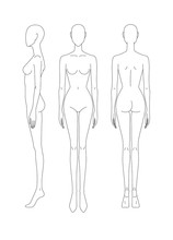 Sketch Of The Female Body. Front, Side And Rear View. Female Body Template For Drawing Clothes. You Can Print And Draw Directly On Sketches.