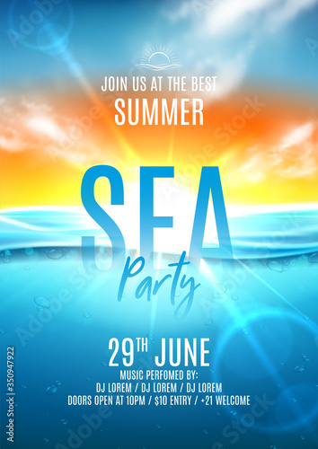 Fototapeta Summer sea party flyer template. Vector illustration with deep underwater ocean scene. Realistic background with sea landscape with sunset or sunrise. Invitation to nightclub. obraz