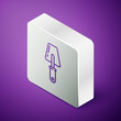 Isometric line Trowel icon isolated on purple background. Silver square button