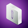 Isometric line Pencil with eraser icon isolated on purple background. Drawing and educational tools. School office symbol. Silver square button