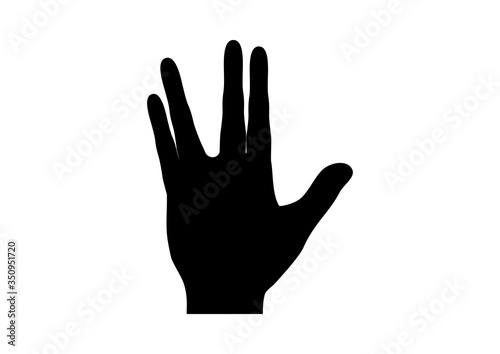 Canvas-taulu Spock hand icon black silhouette vector