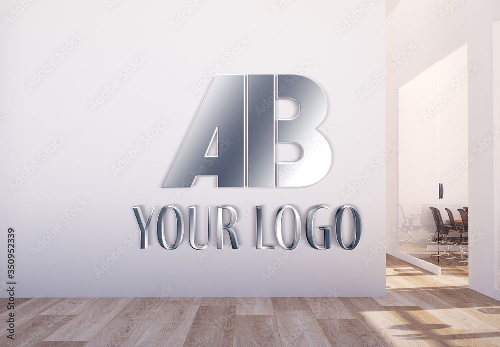 Fototapeta Metallic Logo in Office Hall Mockup