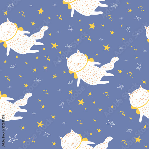 Seamless pattern with a white cat on a blue background. Vector illustration with a pet. Doodle style. Design of packaging paper, fabrics, and clothing. Cute kitten. Textile print. Children's pattern.