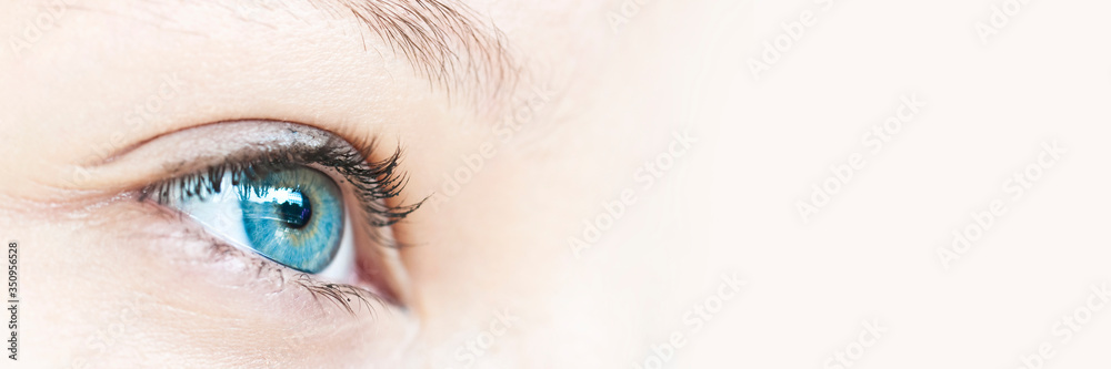 Fototapeta Close up on a girl blue eye, panoramic web banner with copy space