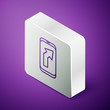 Isometric line Infographic of city map navigation icon isolated on purple background. Mobile App Interface concept design. Geolacation concept. Silver square button