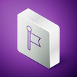 Isometric line Flag icon isolated on purple background. Location marker symbol. Silver square button