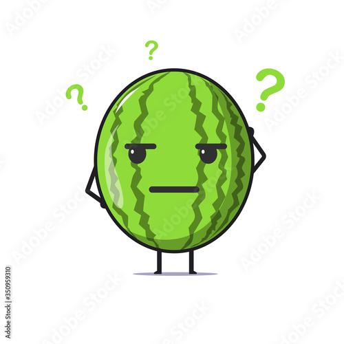 Fototapeta Cute watermelon character feeling confused. Watermelon character illustration isolated on white background. Summer fruit. Watermelon character emoji illustration obraz