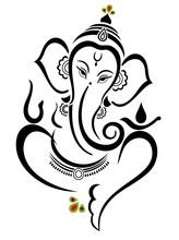 Vector Illustration Of Beautiful God Ganesha. Lambodar
