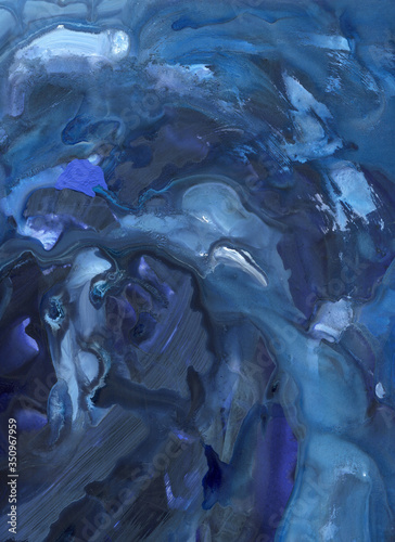 blue fluid abstract background painting full of movement