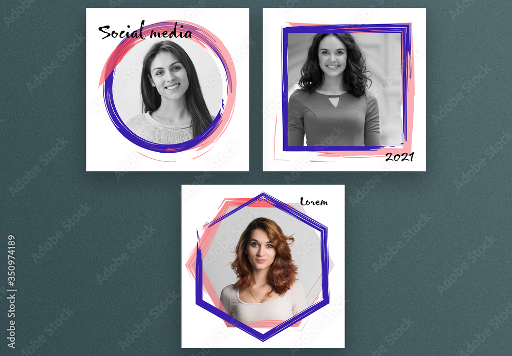 Fototapeta Square Social Media Post Layouts with Abstract Frames