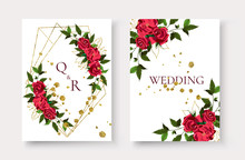 Wedding Invitation Card With Floral Golden Geometric Triangular Frame Save The Date Design With Red Flowers Roses Green Leaves Wreath. Botanical Elegant Decorative Vector Illustration
