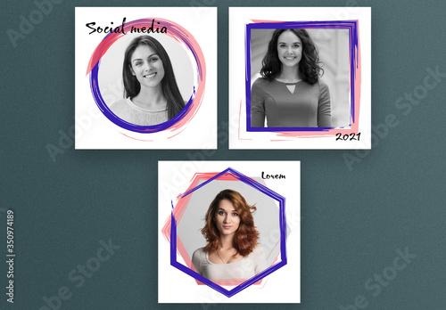 Fototapeta Square Social Media Post Layouts with Abstract Frames obraz