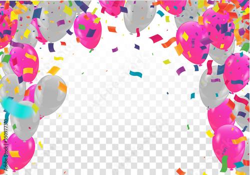 Fototapeta Vector Illustration of Happy Valentines Day and Birthday banner ribbons and balloons obraz na płótnie