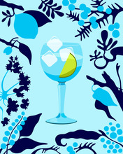 Gin And Tonic Cocktail Illustr...