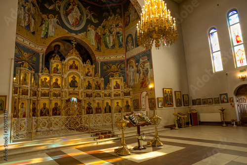 Tela Beautiful Golden iconostasis in the Orthodox Church,the Orthodox Church,the icon