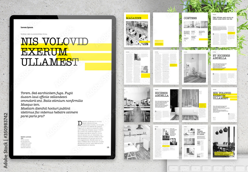 Fototapeta Modern Clean Digital Magazine Layout with Yellow Accents