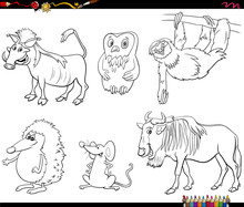 Cartoon Animal Characters Set ...