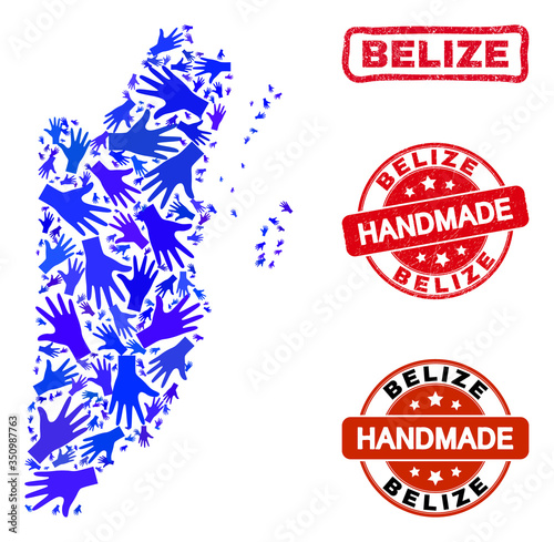 Photo Vector handmade composition of Belize map and rubber stamp seals