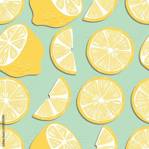 Stampa su Tela Fruit seamless pattern, lemon slices and halves on mint green background