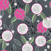 Fruit Seamless Pattern, Dragon...