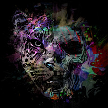 Abstract Fractal Background With Skull