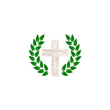 Laurel Leaf Surrounds The Christian Cross Icon Isolated On White Background