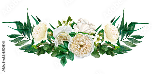 Fototapeta White flowers symmetric bouquet, roses and leaves