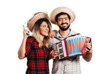 Brazilian Couple Wearing Traditional Clothes For Festa Junina - June Festival