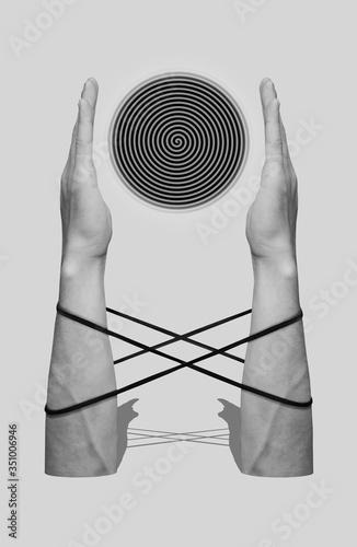 Fotografie, Obraz Hands before spiral. Contemporary art collage. Digital collage