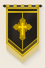 Medieval Vertical Banner With Christian Cross. Wall Hangings Flag. Pennant  For Game With Easy Replaceable Emblem. Vector