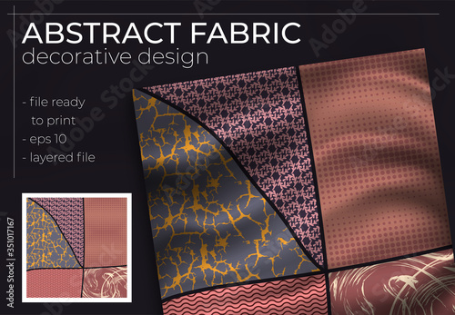Valokuvatapetti Abstract Silk Scarf Design in Square for Hijab Print, silk neck scarf or kerchief, etc
